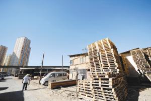 经开区倪家营木材市场存在较大火灾隐患。  记者赵伟摄